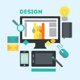 Designer's workspace and stuff. Modern workplace of web designer in creative process or process of development. Modern illustration in flat style royalty free illustration
