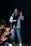 Designer Sarah Burton acknowledges the audience at the end of the Alexander McQueen show Stock Images