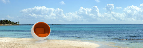Designer seat in tropical beach Royalty Free Stock Image