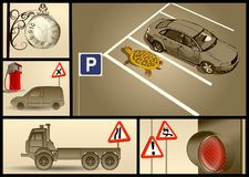 Designer set for car parking. With cars, turtle, clock Stock Photo