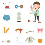 Designer and sewing equipment icons Royalty Free Stock Images