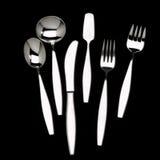 Designer Silverware. Knife spoon fork designer flatware on black background Stock Photo