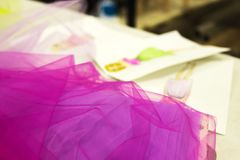 Designer sketch of tulle skirt stock image