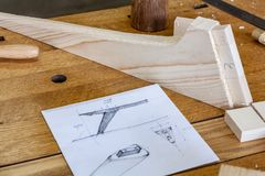 Designer sketches. Woodworking lifestyle, organic eco friendly design elements. Eco-friendly woodworker`s shop. Details and focus on the texture of the material royalty free stock image