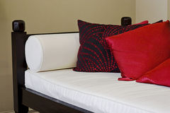 Designer sofa. Detial of a designer sofa with cushions Royalty Free Stock Image