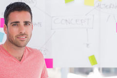 Designer standing in front of whiteboard Stock Image