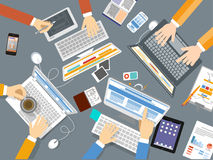 Designer team work in top view Royalty Free Stock Images