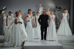 Designer Tony Ward and models are seen at A Toast To Tony Ward: A Special Bridal Collection Stock Photos