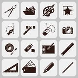 Designer Tools Black Icons. Graphic designer studio tools creative process black icons set isolated vector illustration Stock Photo