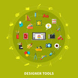 Designer Tools Colored Concept. With icon set combined in big circle on green background vector illustration Royalty Free Stock Image