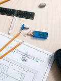 Designer tools on drawing schetch royalty free stock image