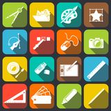 Designer Tools Icons. Graphic designer studio tools creative process flat icons set of paint brush palette camera isolated vector illustration Royalty Free Stock Images