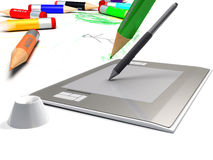 Designer tools. Pen tablet Royalty Free Stock Images