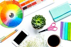 Designer tools on work table white background top view stock image