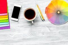 Designer tools on work table white background top view mock up. Designer tools on work table in office on light wooden background top view mock up royalty free stock image