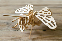 Designer toy plane from wooden parts Stock Photos