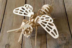 Designer toy plane from wooden parts Stock Photography