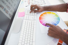 Designer using a colour wheel and typing on keyboard Royalty Free Stock Image