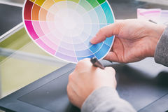 Designer using graphics tablet Stock Images