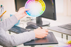 Designer using graphics tablet Royalty Free Stock Images