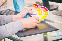 Designer using graphics tablet Royalty Free Stock Photography
