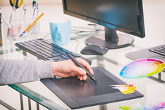Designer using graphics tablet Royalty Free Stock Photos