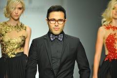Designer Walter Mendez and  models walk runway Stock Photos