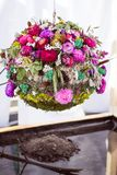 Designer wedding ball of flowers, moss and grass called water stock photos