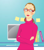 Designer woman. In colorful tone Stock Images