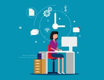 Designer woman working with creative process icons on background. Concept designer vector illustration Royalty Free Stock Photo