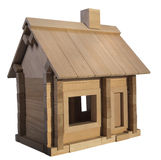 Designer wooden house. Wooden toy house for children Stock Image