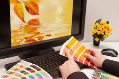 Designer at work. Color samples. stock images
