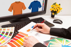 Designer at work. Color samples. Graphic designer at work. Color samples.Illustration picture royalty free stock photography