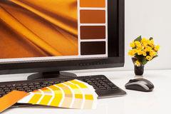 Designer at work. Color samples. Royalty Free Stock Photo
