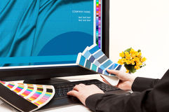 Designer at work. Color samples. royalty free stock images