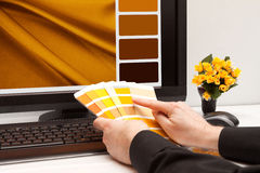 Designer at work. Color samples Stock Images