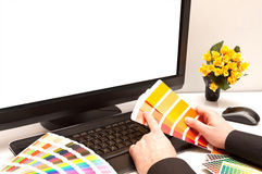 Designer at work. Color samples. Royalty Free Stock Photography