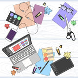 Designer Work Place Table Design Top Angle Royalty Free Stock Image