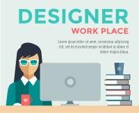 Designer on work place vector logo illustration royalty free illustration