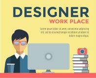 Designer on work place vector logo illustration Royalty Free Stock Photography