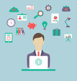 Designer, work place, work elements, flat style design Stock Photos