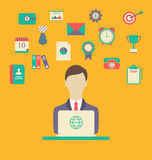 Designer, work place, work elements, flat style design Stock Images