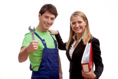 Designer and worker couple stock photography
