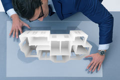 The designer working on 3d futuristic apartment design Royalty Free Stock Images