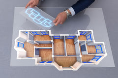 The designer working on 3d futuristic apartment design Stock Photography