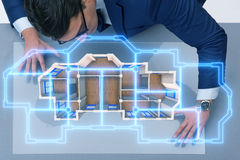 The designer working on 3d futuristic apartment design Royalty Free Stock Image