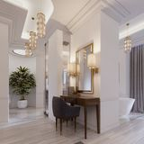 Designer working and dressing table made of wood with a mirror in a gilded frame and glowing sconces on the wall in the suite. 3d rendering stock illustration