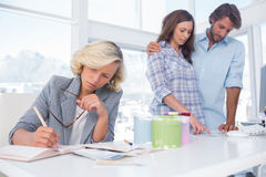 Designer is working in her bright office Stock Photo