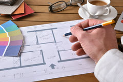 Designer working on an interior design project elevated view Stock Images