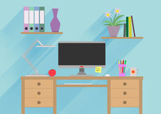 Designer working place or studying illustration. Banner illustration. Flat design illustration concepts for working. Place at office, working place at home stock illustration